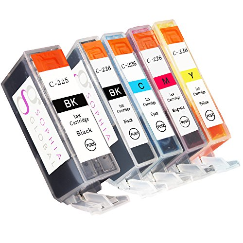 Sophia Global Compatible Ink Cartridge Replacement Set for Canon PGI-225 CLI-226 (Pack of 5: 1 PGI-225 Large Black, 1 CLI-226 Small Black, 1 Cyan, 1 Magenta, 1 Yellow) - Cyan Compatible Canon Ink
