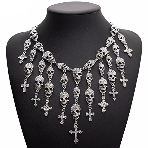 Fashion Crystal Gothic Pirate Skeleton Skull Necklaces Cross Jewelry Crystal Department Statement Women Choker Necklaces Pendants (Silver) -