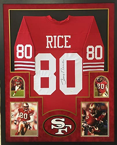 Jerry Rice San Francisco 49ers Signed Autographed Custom Framed Red Jersey 4 Picture Suede Matted JSA Witnessed Certified