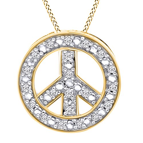 AFFY Round Cut White Natural Diamond Peace Sign Pendant Necklace in 14k Yellow Gold (0.11 Cttw)