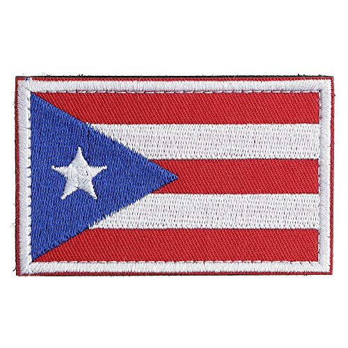 New-Hi Full Embroidery Puerto Rico American Countries Flag Morale Patch Applique Sewing Badge Armband Fabric Cloth with Hook and Loop