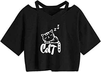 Benficial Womens Summer Fashion Cute Casual O-Neck Cat Print Top T-Shirt 2019 Summer
