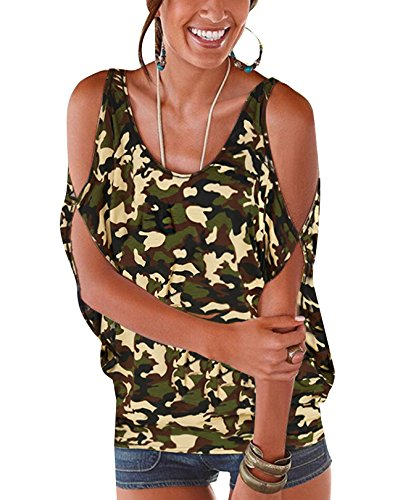 YOINS Top Women Random Floral Print Cold Shoulder Scoop Neck Loose Tie up Back T Shirts Camouflage L ()