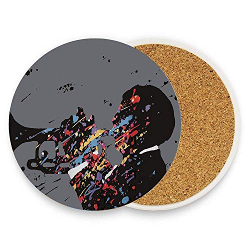 Jugbasee Lecintevro A Concert Performer Jazz Music Absorbent Stone Coaster for Drinks with Cork Drink Coaster Mats for Kinds of Mugs and Cups Pack Of 1