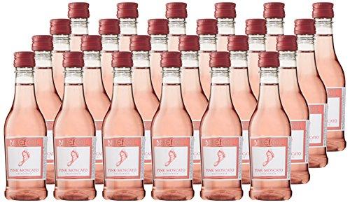 Barefoot Cellars California Pink Moscato Plastic and Portable Mini Wine Bottles, 24 x 187ml