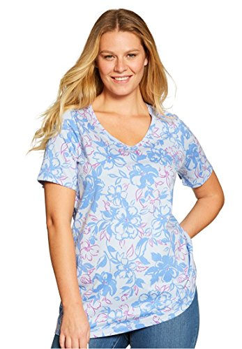 Women's Plus Size Perfect Printed V-Neck Top Ultramarine Floral Stroke,2X