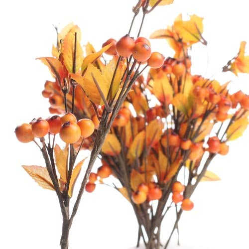 Artificial Berry Spray - Factory Direct Craft Package of 12 Petite Artificial Fall Leaf and Orange Berry Sprays
