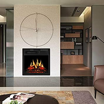 JAMFLY Electric Fireplace Insert 22.5 Freestanding Heater with 7 Log Hearth Flame Settings and Remote Control,1500w,Black