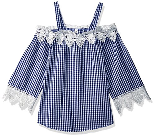 Beautees Big Girls' Off The Shoulder Top, Navy, Large by Beautees