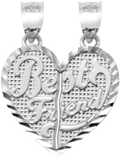 "10 ct 471/1000 Or Blanc ""BEST FRIENDS"" Double Coeur - - Gross Pendentif"