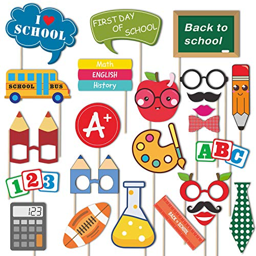 Back To School Photo Booth Props Kit - 25 Count First Day of School Decorations - Fun Props Party Supplies for School Kids or Adults]()