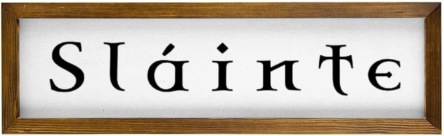 43LenaJon Decorative Slainte Irish Pub Rustic Wood Wall Sign,Hanging Wood Sign with Frame,bar Sign Decor for Garden,Personalized Text Saying Party Funny Wooden Farmhouse Quotes Label