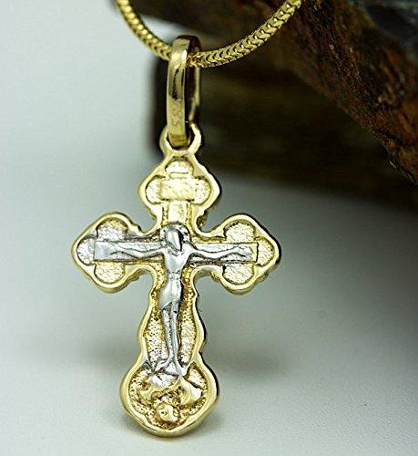 ASS en or 585-Enfants pendentif croix pendentif croix avec Jésus, bicolore, diamanté. Neuf