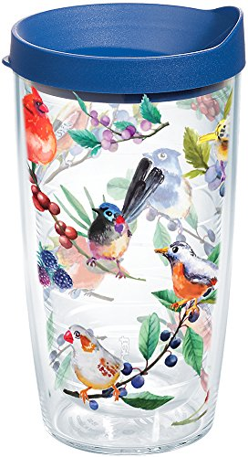 Tervis 1208409 Watercolor Songbirds Insulated Tumbler with Wrap and Blue Lid, 16oz, ()