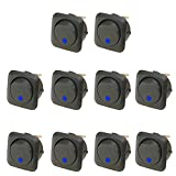 E Support™ 25mm Car Boat Round Dot Blue LED Light Rocker Toggle Switch 12V 25A Dash Board ON OFF Pack of 10