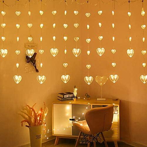 Cadena de Luces LED Decorativas 2.5 m Cortina en forma de corazón Cadena de hadas Luz de guirnalda de corazón de Navidad Luz Fiesta de Navidad Boda Ventana Luz de carámbano