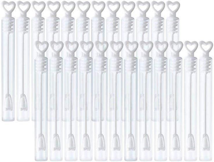 Leisial 48pcs Tubo de Burbujas con Forma en Corazón de Pompas de Jabón para Boda Celebración Cumpleaños Fiesta Blanco(sin Agua con jabón)