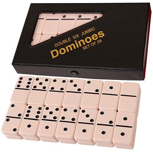 Kangaroo's Double 6 Jumbo Dominoes Set, 28 Domino Tiles in Vinyl Case w/ Snap Closure