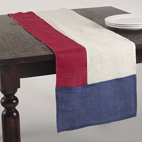 SARO LIFESTYLE 513 American Collection Color Block Design Jute Table Runner, 16 x 72-Inch, Multi 16