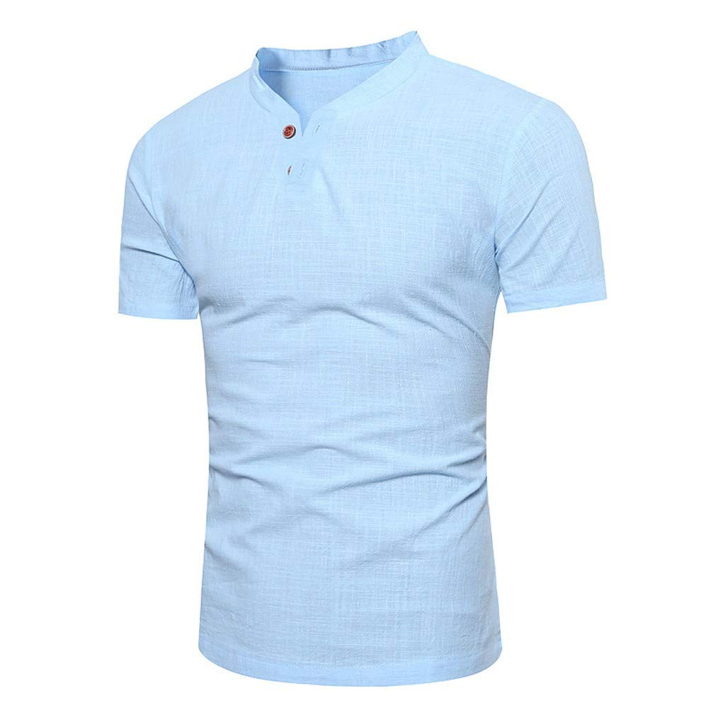 Bestow mVerano de los Hombres de algodón y Lino de Dos Hebillas pequeño Soporte de Cuello de Manga Corta Camiseta Blusa de los Hombres: Amazon.es: Ropa y ...