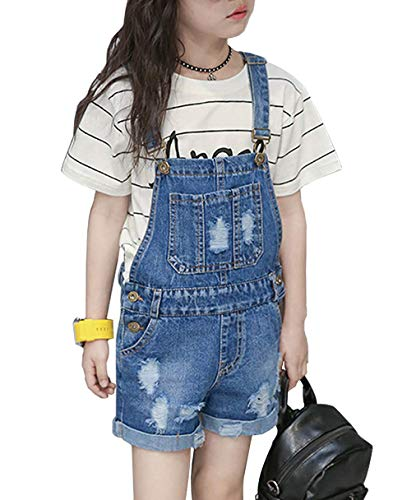 Summer Cute Jumpsuits Gift Overalls for Girls Kids Boyfriend Jeans Denim Romper 160 Blue ()