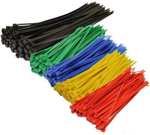 TopzoneAssorted Color Nylon Cable Zip Ties Self Locking, 250-Piece