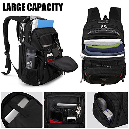 Tzowla Travel Laptop Backpack Anti-Theft Water Resistant Business Backpack TSA Lock & USB Charging Port TSA Friendly Computer Backpack Men Women College School Bag Fit 16 inch Laptops (Black)