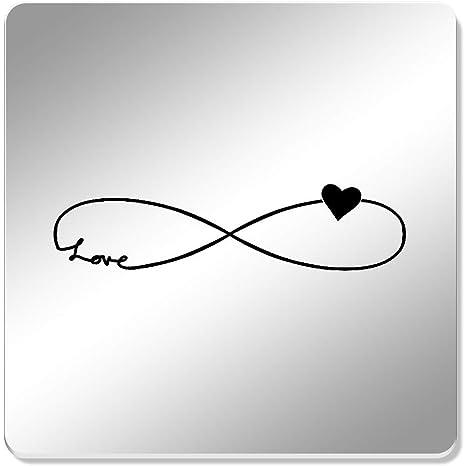 6 x de infinito Amor símbolo de 95 mm espejo posavasos ...