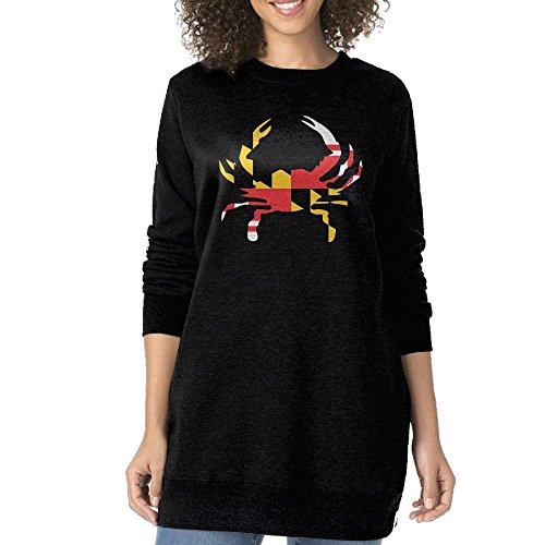 UanshanH Maryland Flag Crab Women's Fashion Long Loose Sweatshirt Long Sleeve Classy Long Sweatershirts Without Pockets M (13 Days Of Halloween Schedule 2017)