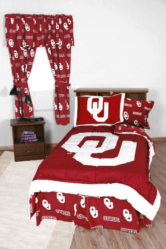 NCAA Oklahoma Sooners Collegiate 7pc Red Full Bedding Set (Comforter Oklahoma Sooners Full)