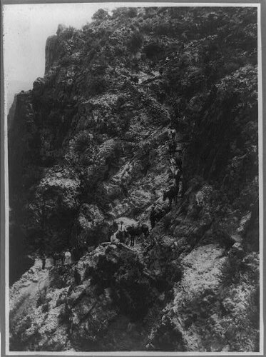 Photo: Grand Canyon,Arizona,AZ,Jacob's Ladder,2255 ft below the run,people,trail,c1907