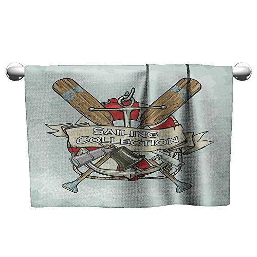 Antique Biltmore Collection - alisoso Nautical,Decorative Towels Sailing Collection Yacht Antique Historical Icons Life Saver Oars Gym Towels for Women Almond Green Multicolor W 28