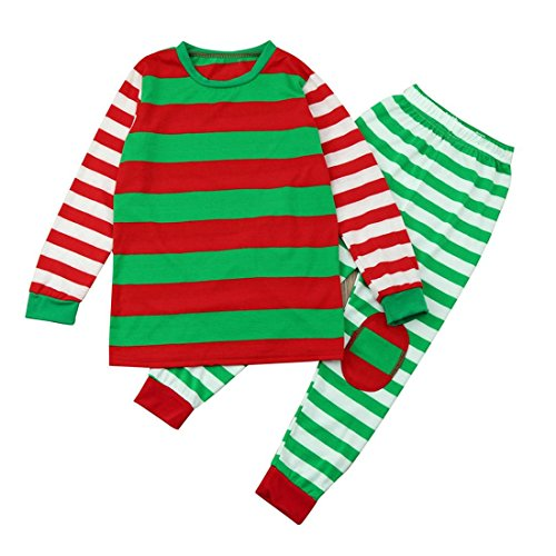 HANYI Family Clothes Outfits, Mommy Daddy & Baby Kids RED Santa Striped Full Cotton Long Sleeve Family Matching Christmas Pajamas Sets (6T, Baby (Skeleton Hoodie And Leggings)