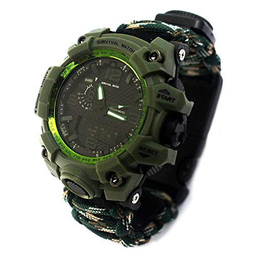 ❤️MChoice❤️Outdoor Survival Watch Bracelet with Flint Fire Starter Compass Whistle (E)