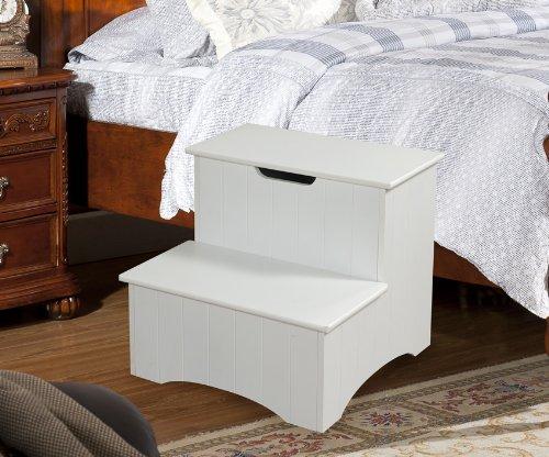 King's Brand Large White Finish Wood Bedroom Step Stool with Storage