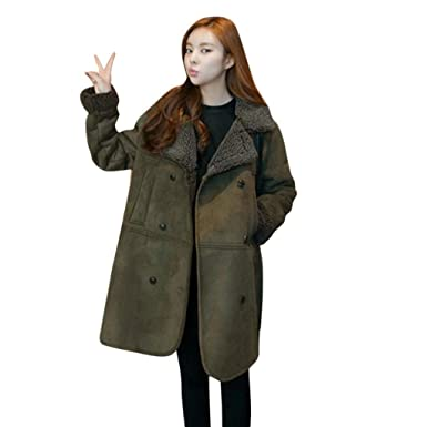 a7035b6607 Napoo Women Long Sleeve Lambswool Artificial Suede Winter Warm Thick Long  Coat Jacket Plus Size (