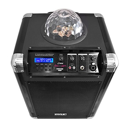 "Pyle Portable Karaoke PA Speaker - Disco Jam System Machine with LED Party Light, 400 Watt Rechargeable Battery, Wireless Headset, Microphone, AM/FM Radio, 10"" Subwoofer and Bluetooth - PCMX280B"