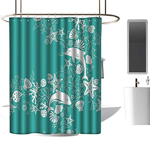 Brandosn Shower Curtains Fabric Sea Animals,Dolphins Flowers Sea Life Floral Pattern Starfish Coral Seashell Wallpaper,Sea Green White Stalls and Bathtubs W96 xH72 -