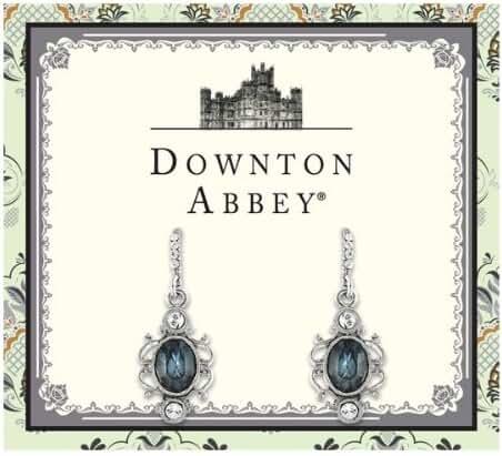 Downton Abbey Sapphire Blue & Diamond-like Crystal Oval Drop Silver tone Earrings