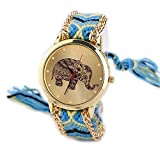 Creazy® Women Elephant Pattern Weaved Rope Band Bracelet Quartz Dial Wrist Watch
