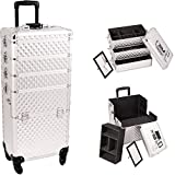 Sunrise I3361 Diamond Silver 4-Wheels Professional Rolling Aluminum Cosmetic Makeup Craft Storage Organizer Case and Stackable Trays with Dividers