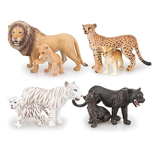 "TOYMANY 8PCS 2-5"" Plastic Safari Animals Figure Playset Includes Baby Animals, Realistic Lion,Tiger,Cheetah,Black Panther Figurines with Cub, Cake Toppers Christmas Birthday Toy Gift for Kids Toddlers"