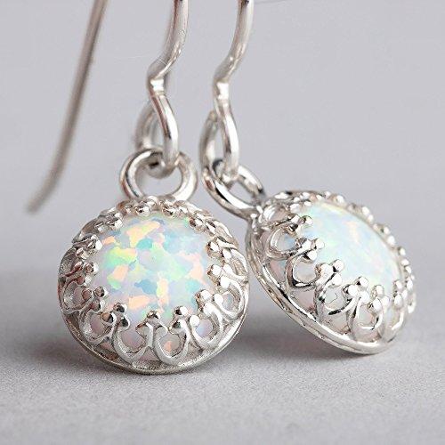 Simple Earrings Gemstone (White Opal Gemstone Earrings in Sterling Silver with Princess Crown Settings - October Birthstone)