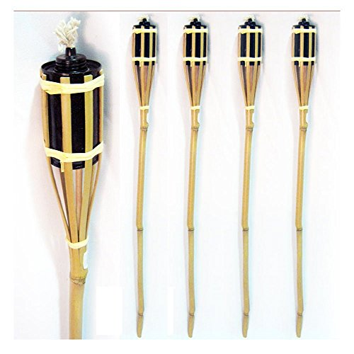 Lot of 4 Bamboo Tiki Torch - 3 ft tall