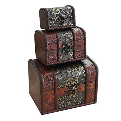 - Hofumix Jewelry Boxes Wooden Treasure Box Vintage Treasure Chest Handmade Box Rings Case with Metal Lock for Storing Jewelry Treasure Pearl Cosmetics 3PCS(S,M,L)