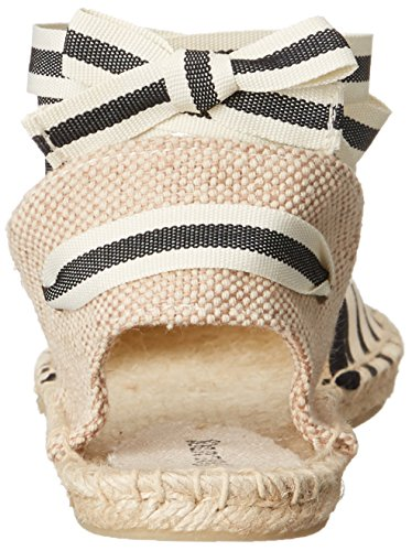 Soludos Women's Classic Stripe Sandal, Natural Black, 8 B US