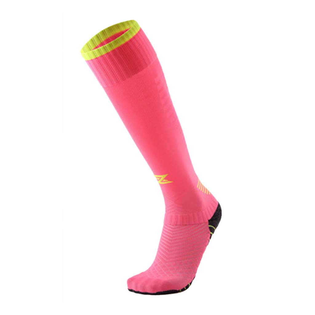 ZHAO YING Non-Slip - Thick - Towel Bottom - Above The Knee - Wear-Resistant - Perspiration - Breathable Football Socks (Color : Pink)
