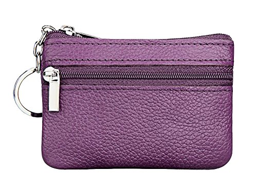 Leather Zip Mini Coin Purse w/ Key Ring Purple ()