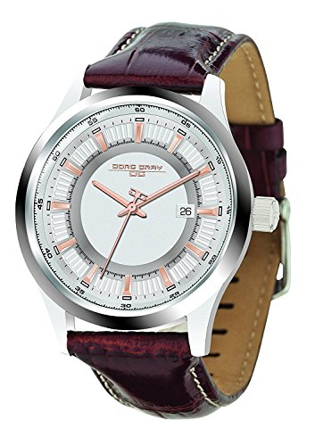 Jorg Gray | Silver Stainless Steel Watch w/Brown Leather Band | JG6800-12 | Silver w/Rose Gold Dial