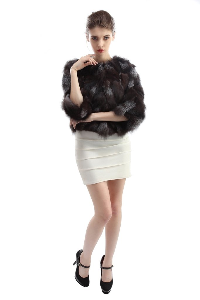 OLLEBOBO Women's Coat For Winter Genuine Fox Fur Knitted Coat without Belt Size 2XL Black by OLLEBOBO (Image #2)
